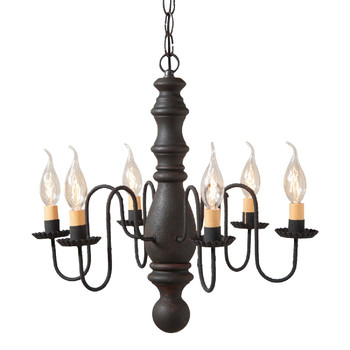 Hartford Black over Red Manassas Wood and Metal Chandelier