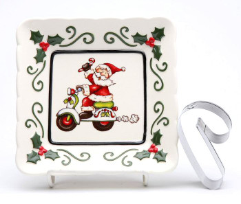 Santa Driving Scooter Plates with Cookie Cutter by L Furnell, Set of 3