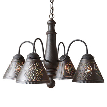 Americana Black Crestwood Wood and Metal Chandelier