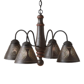 Americana Espresso Crestwood Wood and Metal Chandelier
