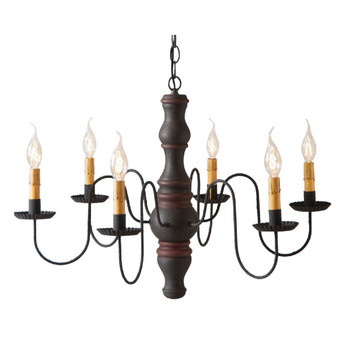 Hartford Black with Red Stripe Gettysburg Wood and Metal Chandelier