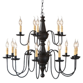 Americana Black Harrison Two Tier Wood Chandelier