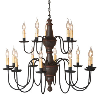 Americana Espresso Harrison Two Tier Wood Chandelier