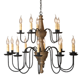 Americana Pearwood Harrison Two Tier Wood Chandelier