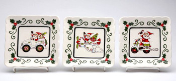 Assorted Santa Porcelain Plates by Laurie Furnell, Set of 3