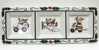 Santa Three Section Porcelain Plate by Laurie Furnell