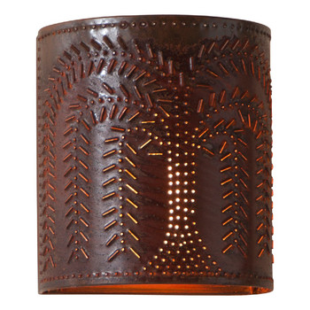 Rustic Tin Willow Tree Chisel Pierced Tin Lighted Wall Sconce