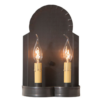 Blackened Tin Hanover Double Lighted Metal Wall Sconce