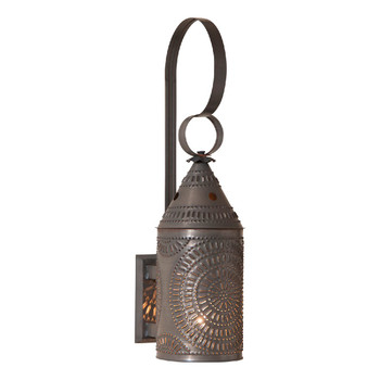 "Blackened Tin 15"" Electrified Lighted Metal Wall Sconce"
