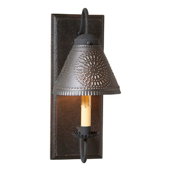 Americana Black Crestwood Lighted Metal Wall Sconce with Tin Lamp Shade