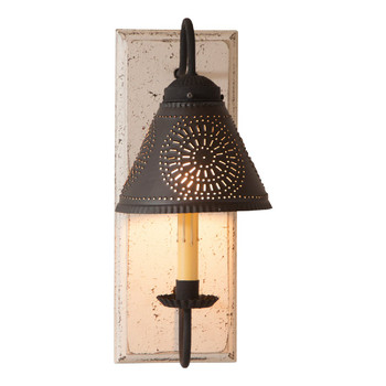 Americana White Crestwood Lighted Metal Wall Sconce with Tin Lamp Shade