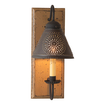 Americana Pearwood Crestwood Lighted Metal Wall Sconce with Tin Lamp Shade