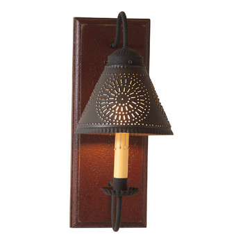 Americana Plantation Red Crestwood Lighted Metal Wall Sconce with Tin Lamp Shade