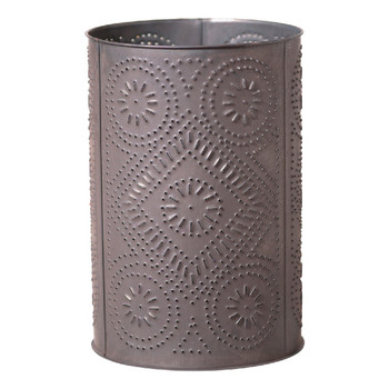 Blackened Tin Wastebasket Trash Can with Diamond Pattern