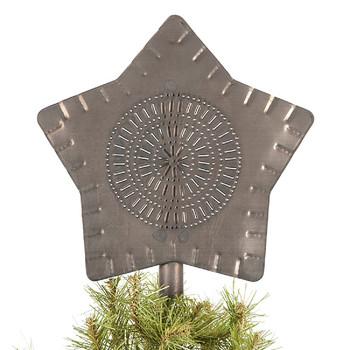 Blackened Tin Large Star Metal Tree Topper