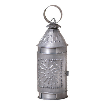 "Antique Tin 9"" Mini Revere Metal Candle Lanterns, Set of 2"