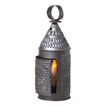 Smokey Black Baker's Chisel Pierced Tin Candle Lantern