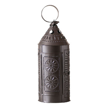 "Smokey Black 17"" Sturbridge Chisel Pierced Tin Candle Lantern"