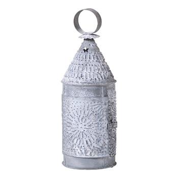 Weathered Zinc Baker's Punched Tin Candle Lantern