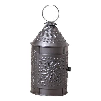 "Smokey Black 10"" Revere Chisel Pierced Tin Candle Lanterns, Set of 2"