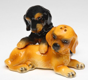Cocker Spaniel Dogs Porcelain Salt and Pepper Shakers, Set of 4