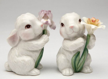 Cute Bunny Rabbit Porcelain Salt and Pepper Shakers, Set of 4