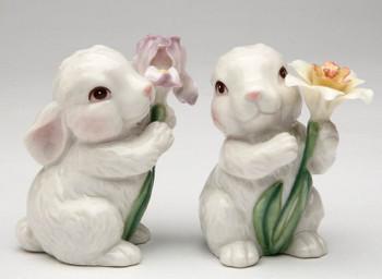 Cute Bunny Rabbit Porcelain Salt and Pepper Shakers, Set of 4