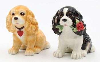 Cute Cocker Spaniel Dogs Porcelain Salt and Pepper Shakers, Set of 4