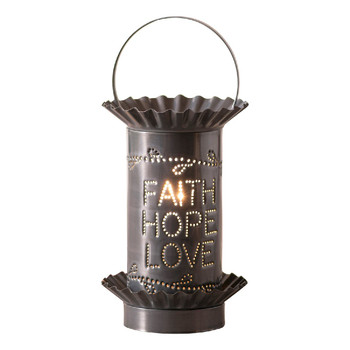 Country Tin Mini Vertical Faith Hope Love Electric Wax Melter Wax Warmer