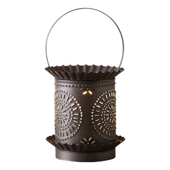 Kettle Black Jumbo Punched Chisel Pierced Tin Electric Wax Melter Wax Warmer