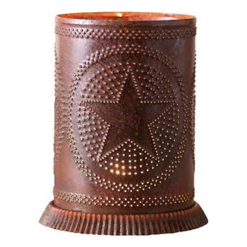 Rustic Tin Metal Candle Warmer with Star
