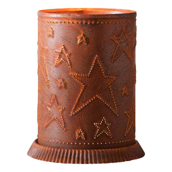 Rustic Tin Metal Candle Warmer with Country Stars