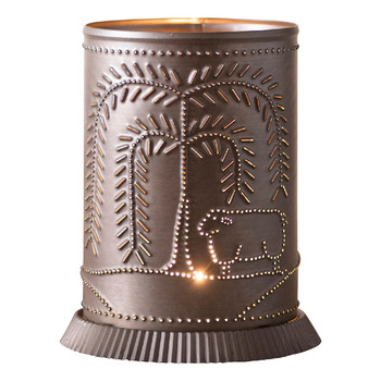 Kettle Black Metal Candle Warmer with Willow Tree and Sheep