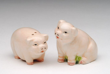 Mini Pudgy Pigs Ceramic Salt and Pepper Shakers, Set of 4