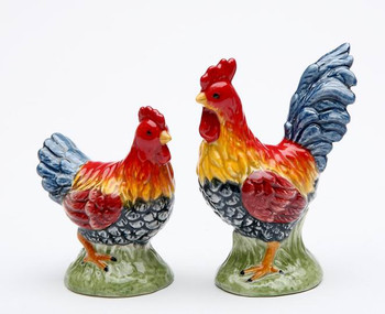 Colorful Mini Roosters Ceramic Salt and Pepper Shakers, Set of 4