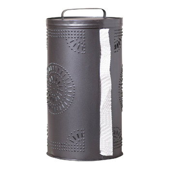 Smokey Black Punched Tin Paper Towel Holder