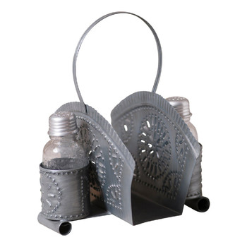 Antique Tin Salt and Pepper Shakers with Napkin Holders, Set of 2