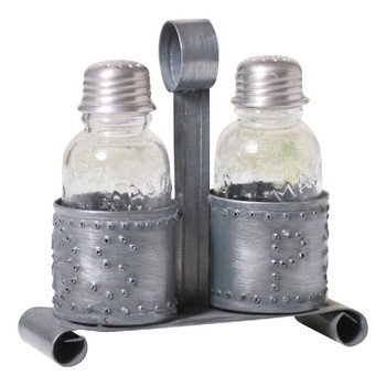 Antique Tin Salt and Pepper Shakers with Holders, Set of 2
