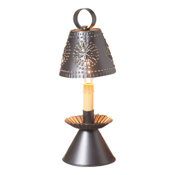 "14"" Smokey Black Colonial Electric Candlestick Accent Light with Punched Chisel Pierced Tin Shade"