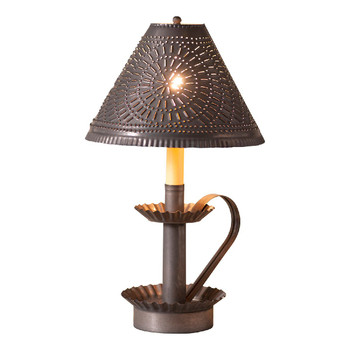 "16.5"" Blackened Tin Plantation Electric Candlestick Lamp with Punched Chisel Pierced Tin Shade"