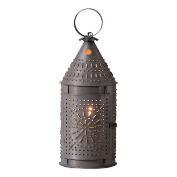 "15"" Blackened Tin Revere Punched Chisel Pierced Tin Electric Lantern"