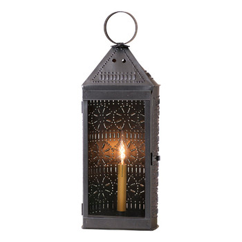 "22"" Smokey Black Harbor Metal and Glass Electric Lantern"
