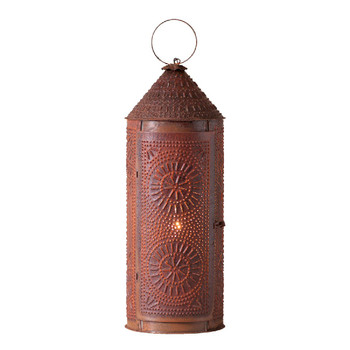"22"" Rustic Tin Chimney Punched Chisel Pierced Tin Electric Lantern"