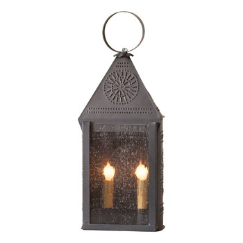 "19"" Blackened Tin Hospitality Punched Chisel Pierced Tin Electric Lantern"
