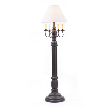 Americana Black General James Wood and Metal Floor Lamp with Linen Shade