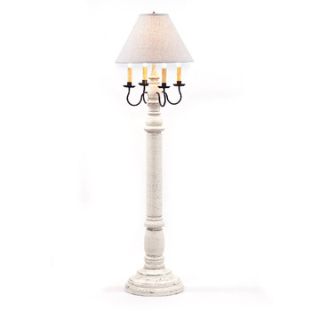 Americana White General James Wood and Metal Floor Lamp with Linen Shade