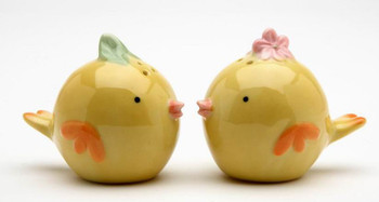Two Chick Birds Ceramic Salt and Pepper Shakers, Set of 4