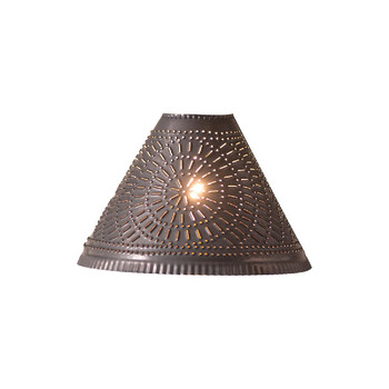 Blackened Tin Plantation Punched Chisel Pierced Tin Lamp Shade