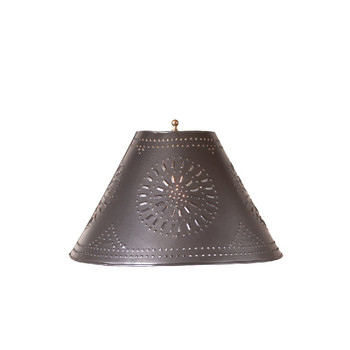 """Smokey Black 12"""" Flared Punched Chisel Pierced Tin Lamp Shade"""