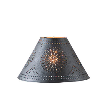 """Textured Black 12"""" Flared Punched Chisel Pierced Tin Lamp Shade"""